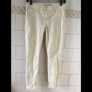 J Brand Cass Back Zip Capri Pale Yellow Jeans 27